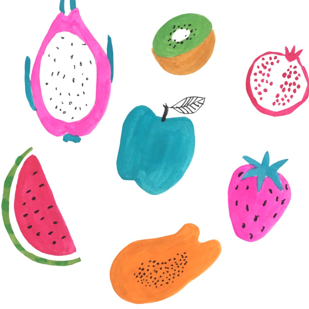 Image of Colourful fruit print