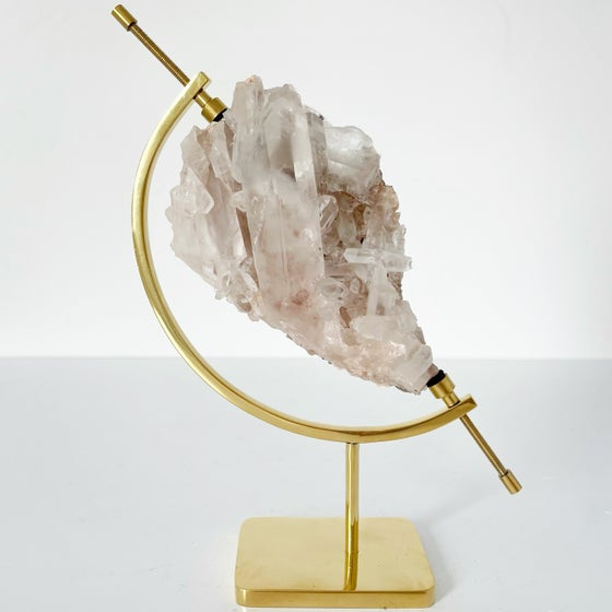 Image of Pink Quartz no.25 + Brass Arc Stand