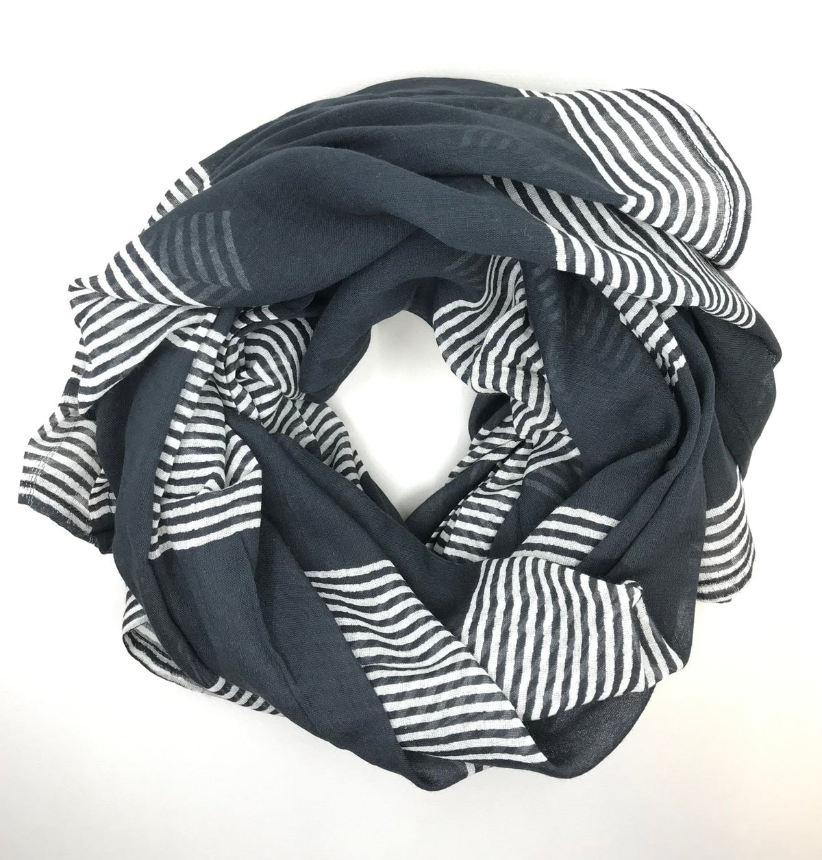 Navy And White Block Printed Scarf by Hallie Gray