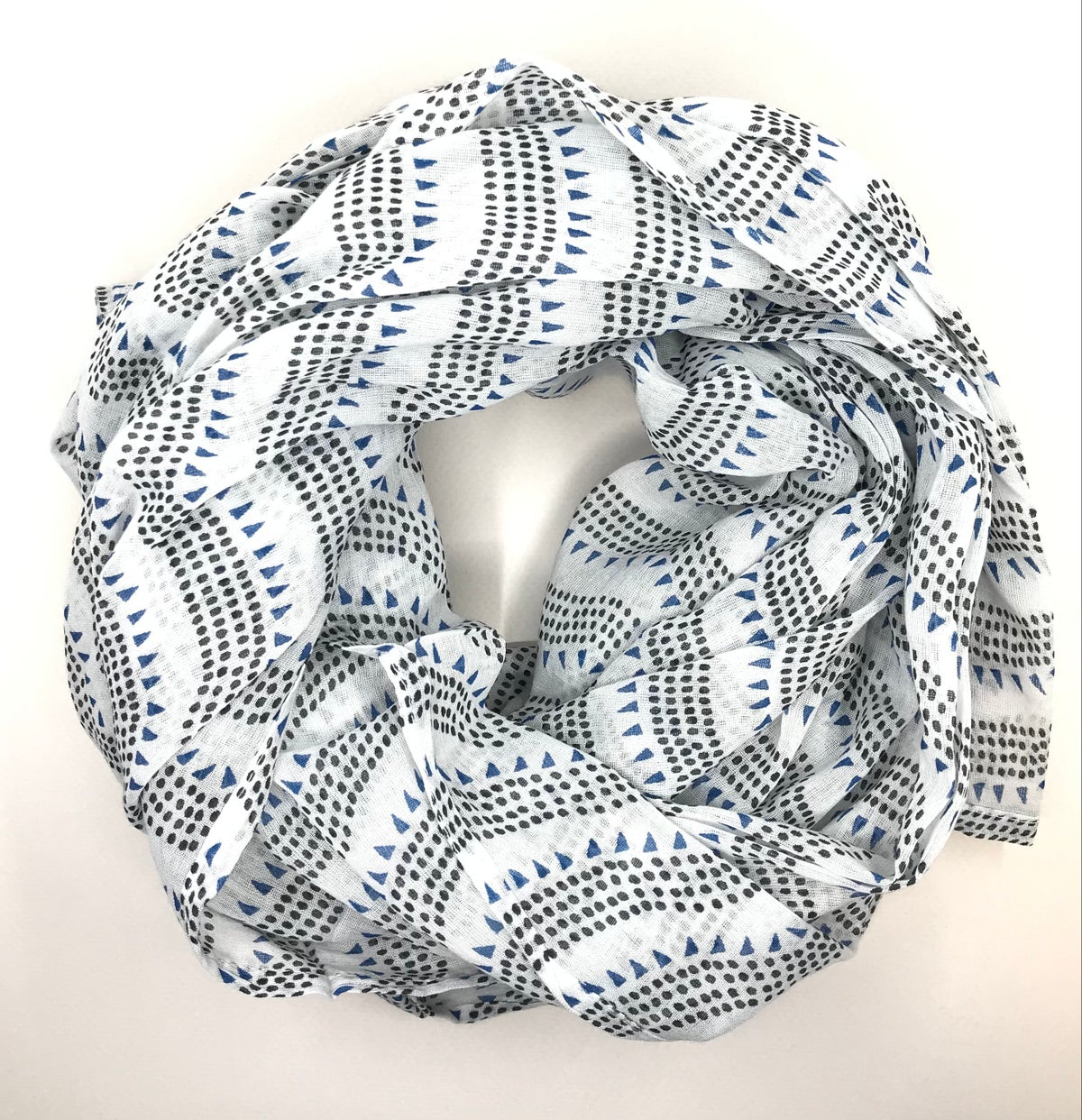 White And Navy Block Printed Scarf by Hallie Gray