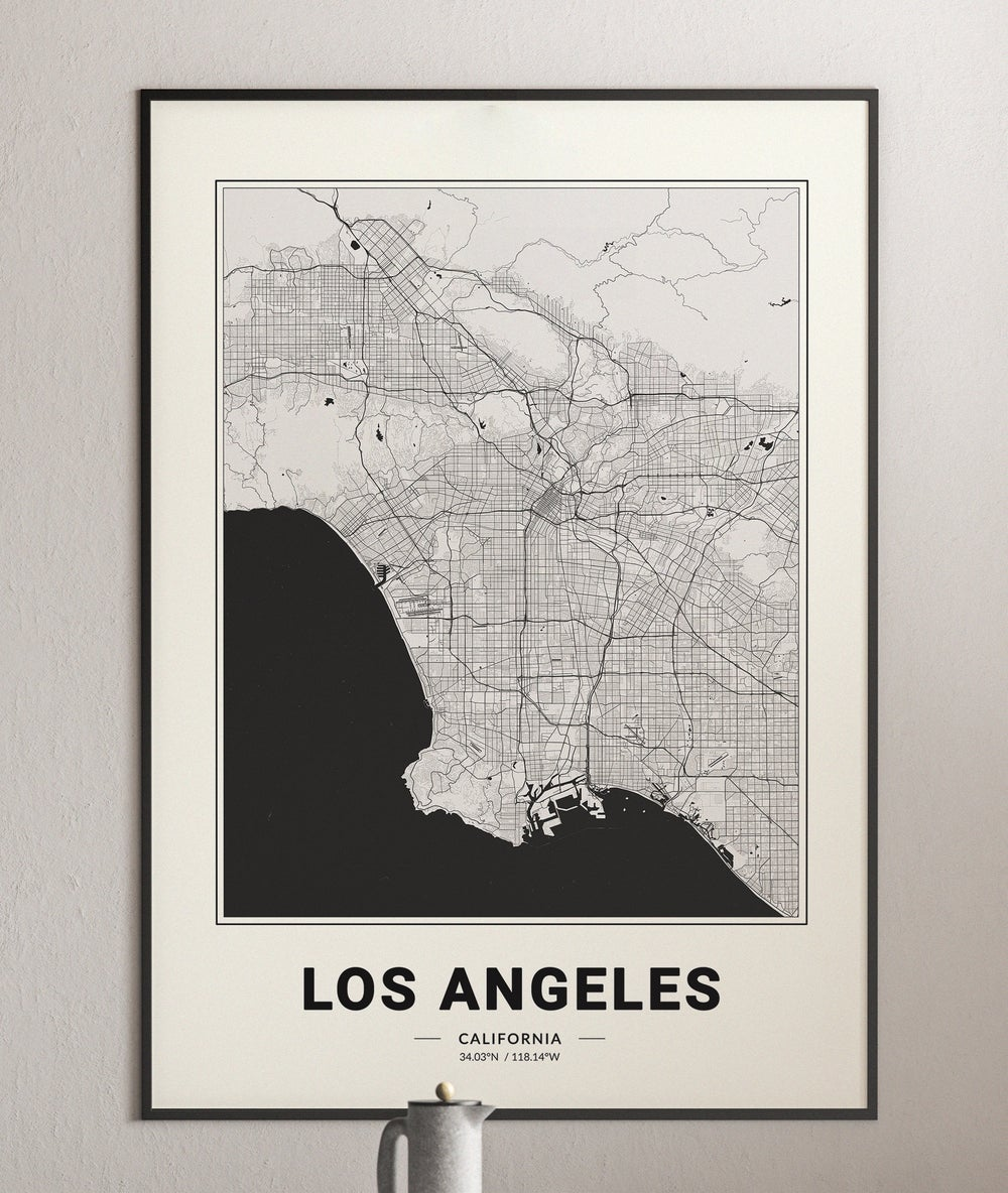 Los Angeles Map - Minimalist Modern Black and White USA City Map Poster