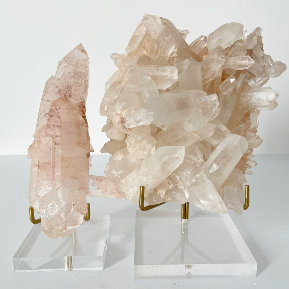 Image of Pink Quartz no.56 + Lucite and Brass Stand
