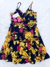 Tropical Floral Dress (mustard/fuchsia)