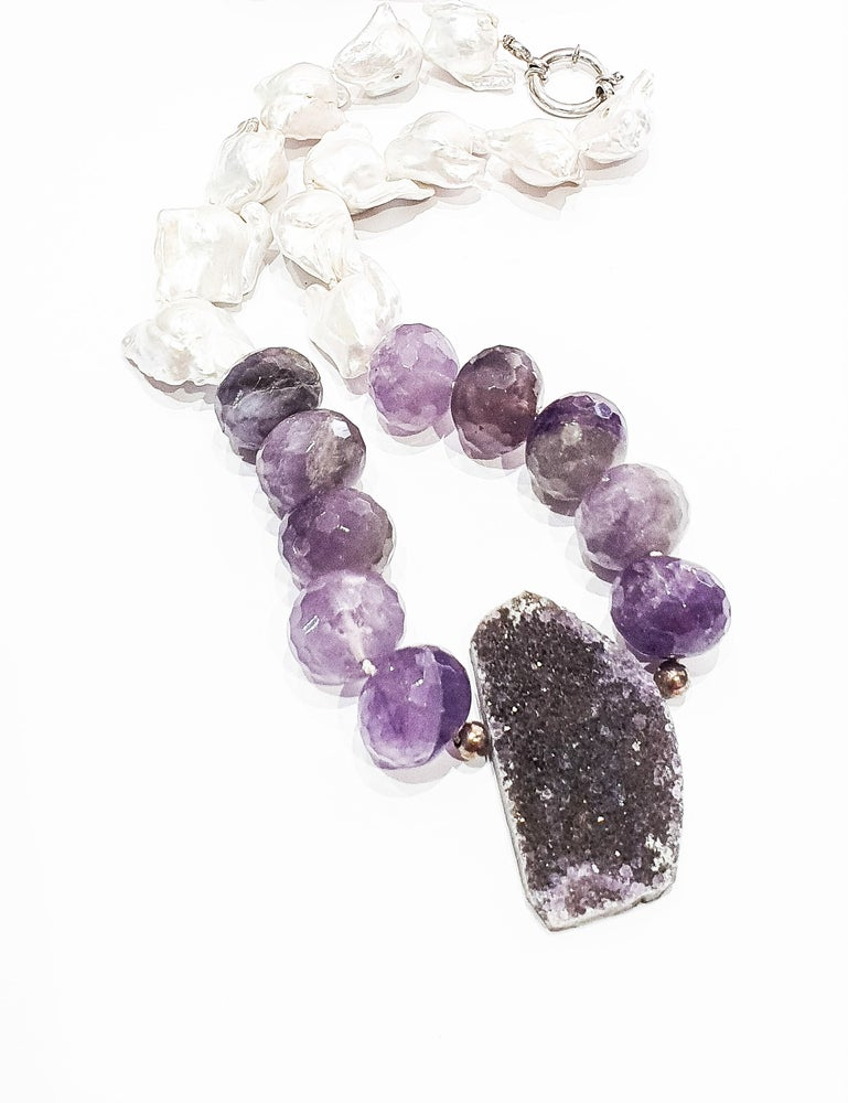 Image of Pearl and Raw Amethyst Necklace