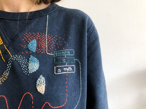 Image of Balance is a myth - hand embroidered 100% organic cotton sweatshirt, Unisex