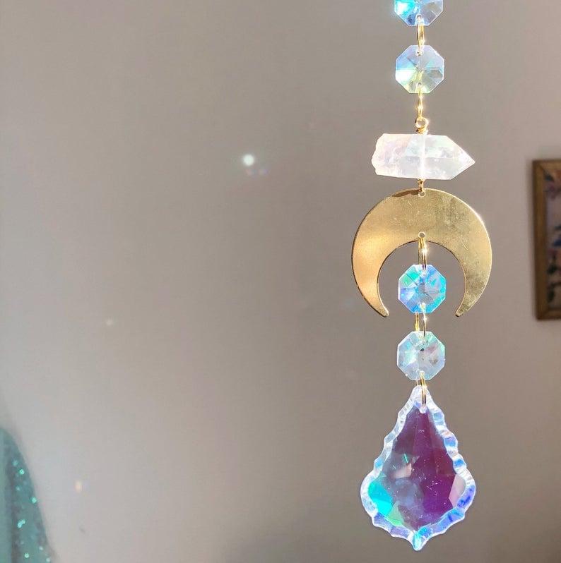 Image of Luna Statement Suncatcher - with Aura Quartz Crystal