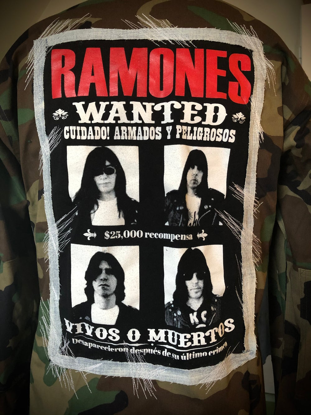 """Wanted: The Ramones Adios Amigos"" UPcycled Army Jacket/Shirt"