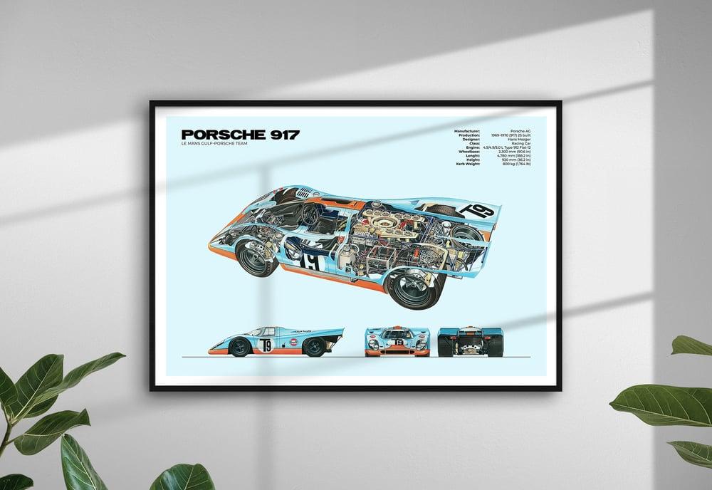 Porsche 917 - Le Mans Race Gulf Livery Car Poster