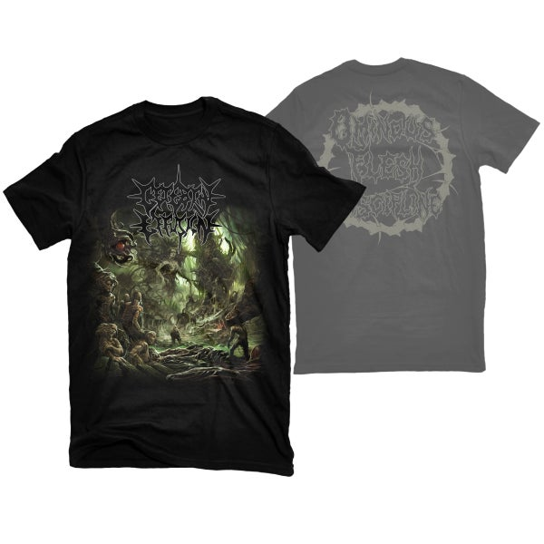 "Image of CEREBRAL EFFUSION ""OMINOUS FLESH DISCIPLINE"" LOGO BACK T-SHIRT"