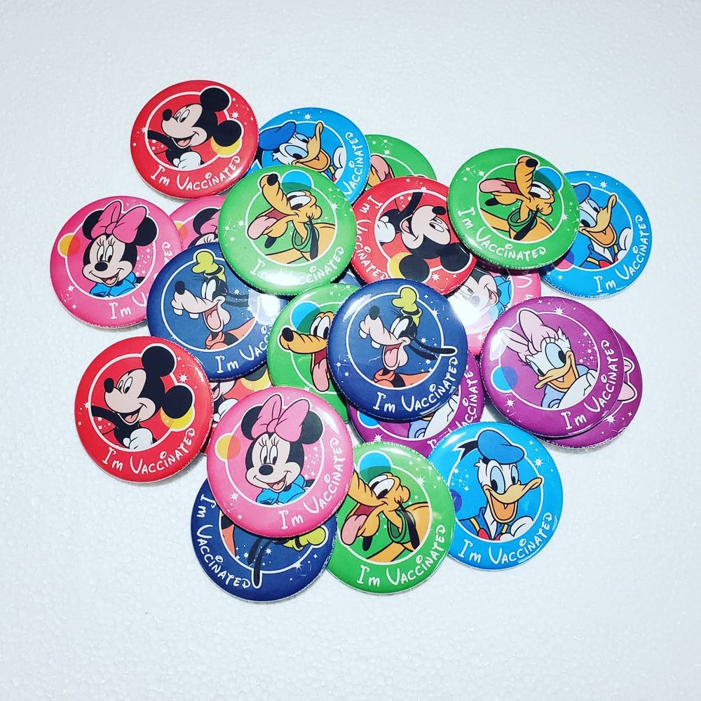 """2.25"""" Disney Vaccinated pin back buttons"""