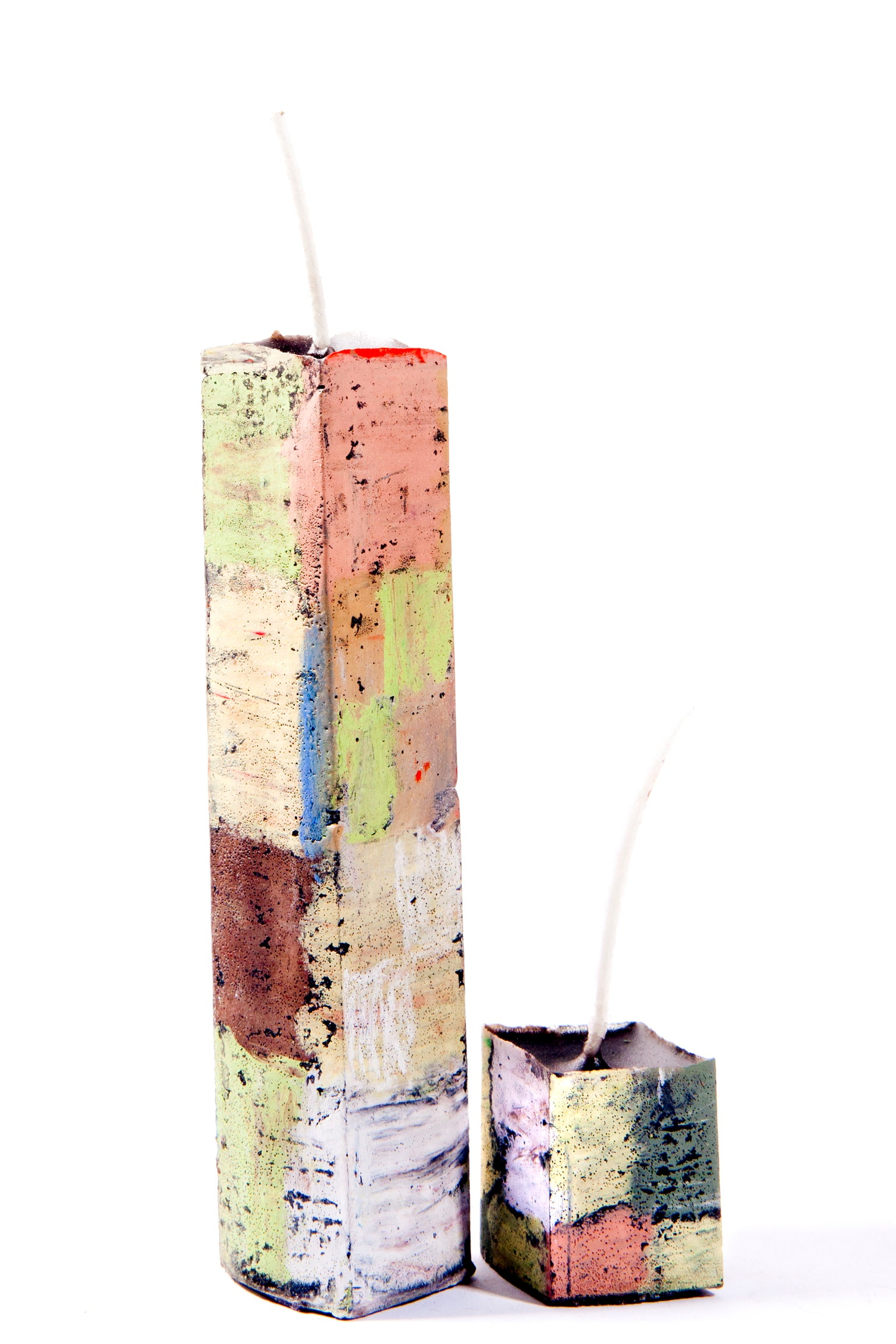 Image of Stack Tower Mother & Child in greens, black, soft yellow, brown, red, blue, clay pink, taupe & white