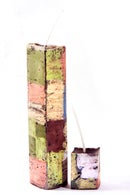 Image 2 of Stack Tower Mother & Child in greens, black, soft yellow, brown, red, blue, clay pink, taupe & white