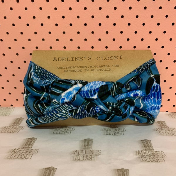 Image of Blue floral minky headwrap