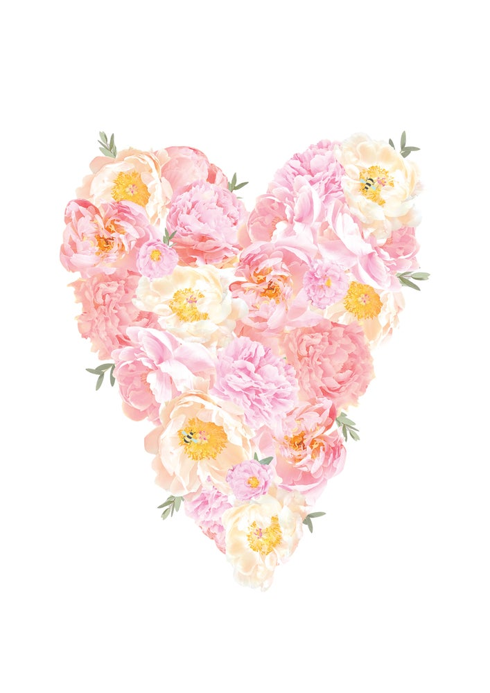 Image of Peony and Bee Heart Print