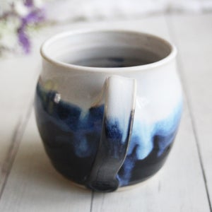 Image of Handmade Pottery Mug in Black, Blue and White Glazes Dripping Glazes, Made in USA