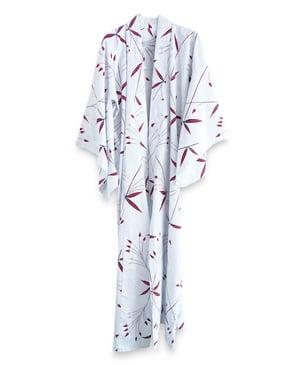 Image of Kimono af bomuld - yugata - med hjerte-blomster