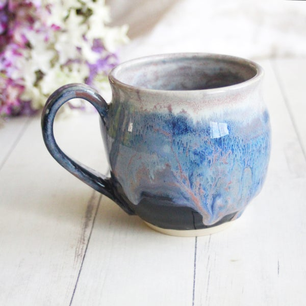 Image of Gorgeous Handmade Mug in Blue Purple Glaze, 15 oz, Ceramic Coffee Cup, Made in USA