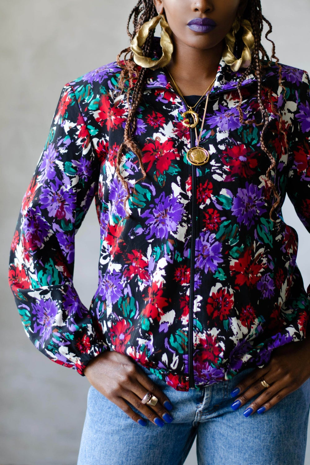 Image of Vintage 1990's Willow Floral Zip Front Jacket