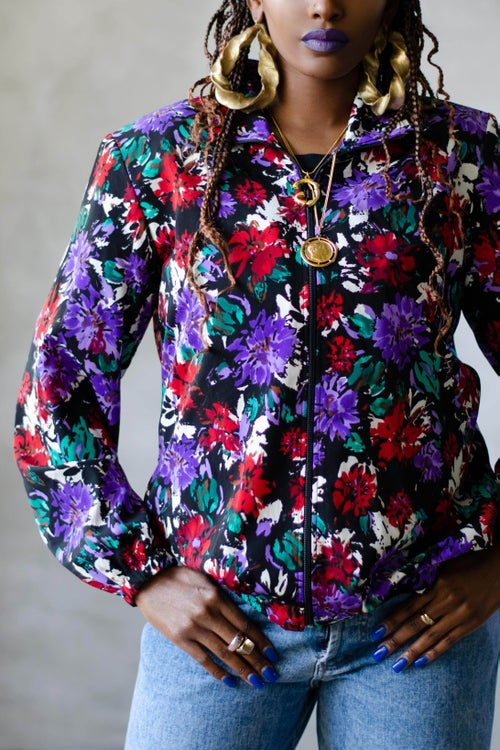 Image of Vintage 1990's Willow Floral Zip Front Jacket