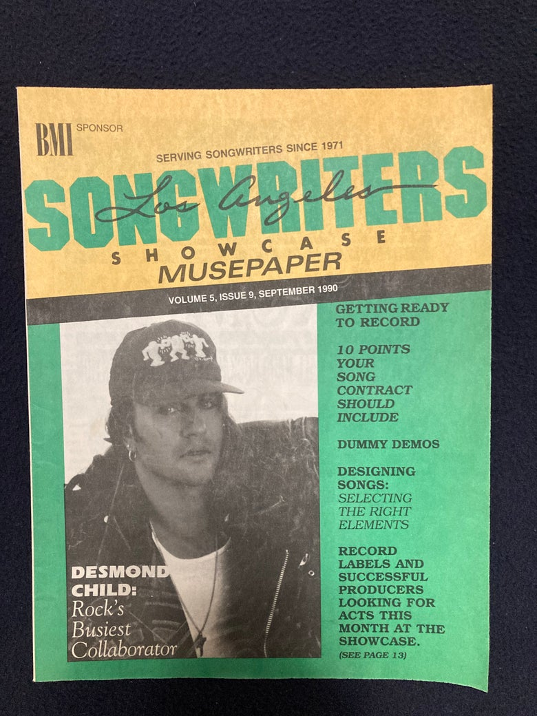 Image of Desmond Child feature in Songwriters Showcase Magazine (Sept. 1990)