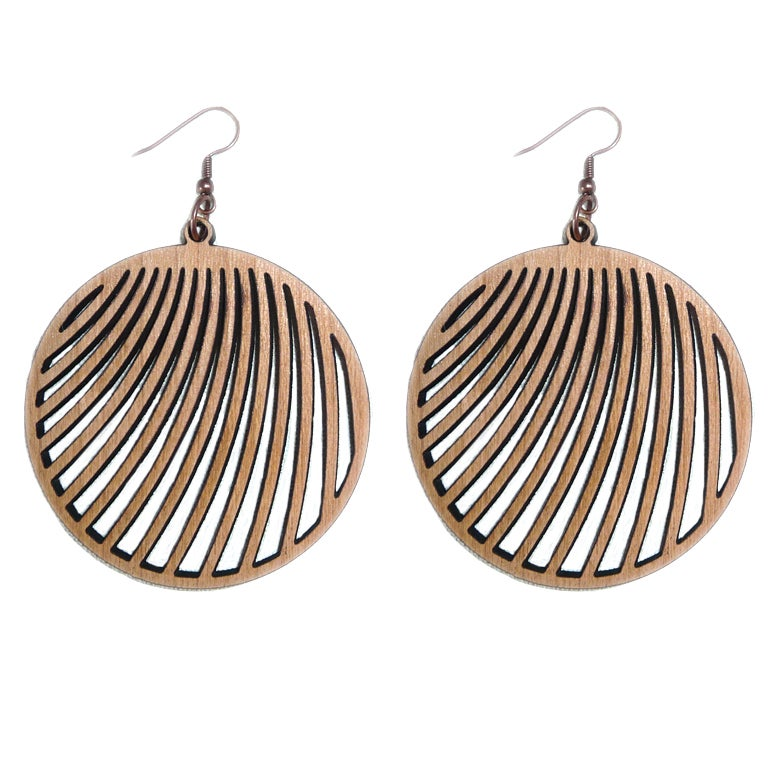 Image of MAHOGANY WOOD LASER CUT EARRINGS WOOD AND COPPER