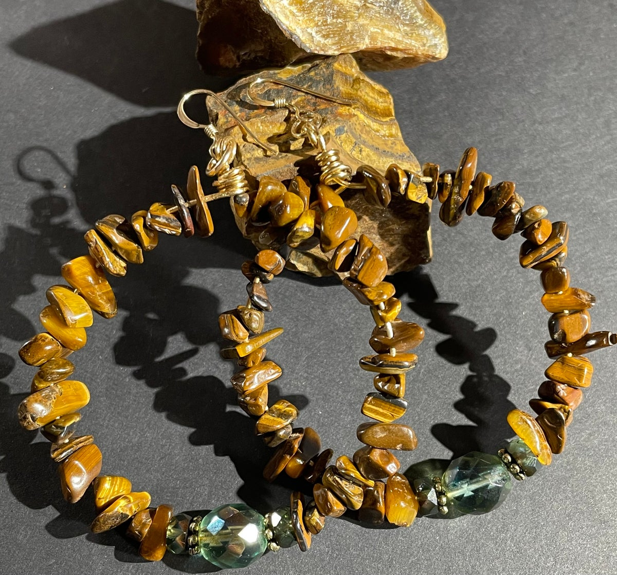 Tiger's Eye Hoops with Vintage Glass