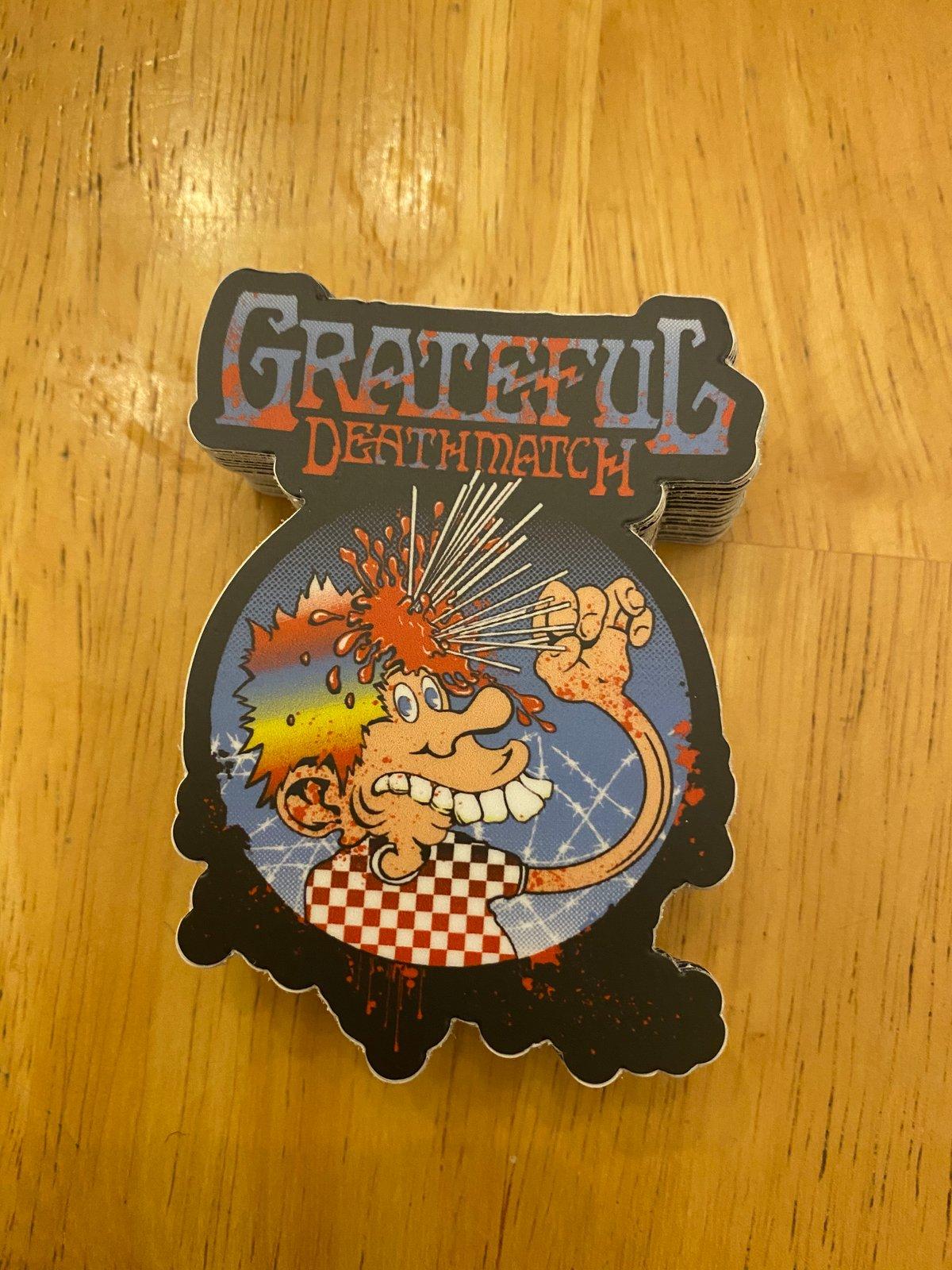 "3"" Grateful Deathmatch skewer logo with text"