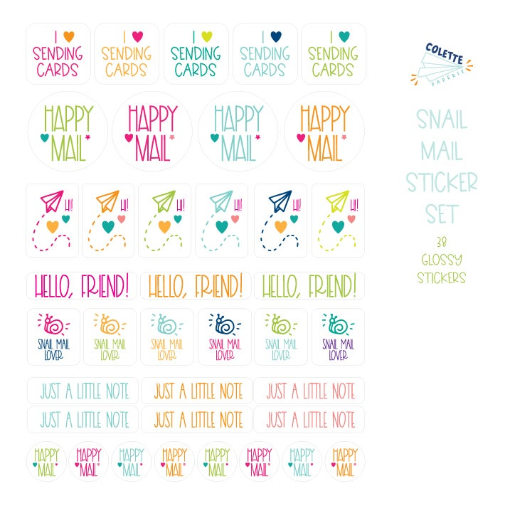 Image of Snail Mail Envelope Bling Multi Sticker Set - 38 Stickers
