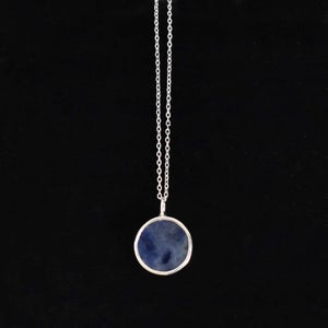Image of Sodalite flat round cut silver necklace