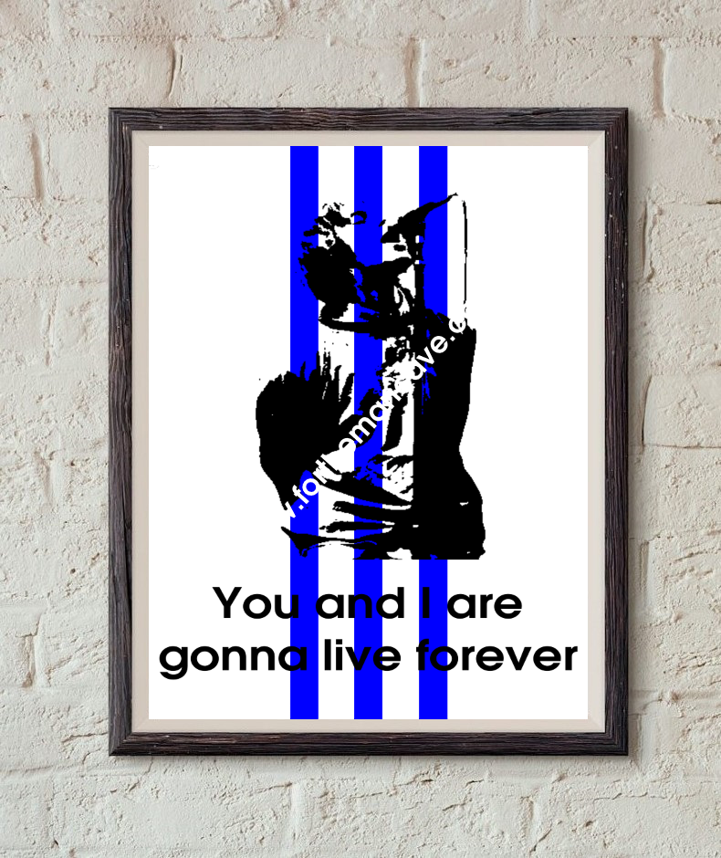 Image of LIAM GALLAGHER - THREE STRIPE / LIVE FOREVER PRINT