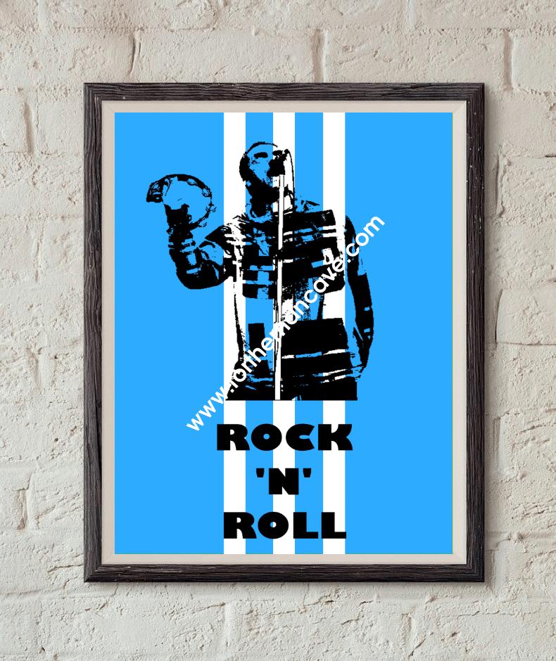 Image of LIAM GALLAGHER - THREE STRIPE / ROCK 'N' ROLL PRINT (BLUE)