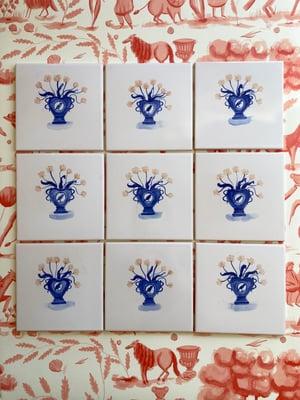 Image of Romantic Vase Cobalt Tile