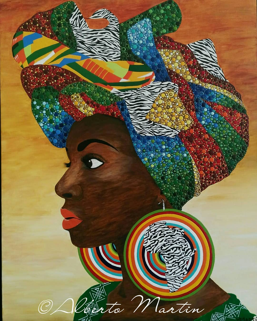 "Image of ""LEWA"", original artwork acrylic painting dotart canvas by Mandalaole Alberto Martin"