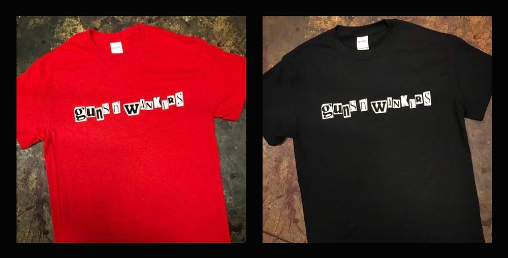 guns 'n' wankers - Logo T-shirt (Black & Red)