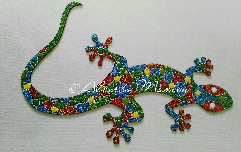 Image of Lizard - Gecko 1/ dot art mdf/ handpainted/ Gift ideas/ by Alberto Martin