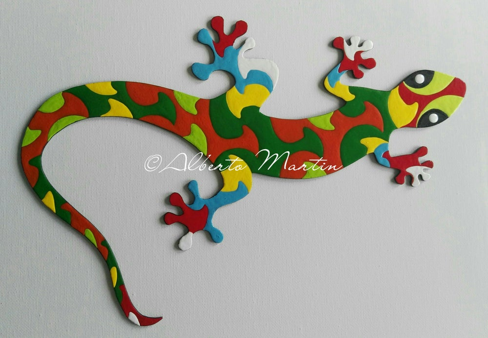 Image of Lizard - Gecko 4/ dot art mdf/ handpainted/ Gift ideas/ by Alberto Martin