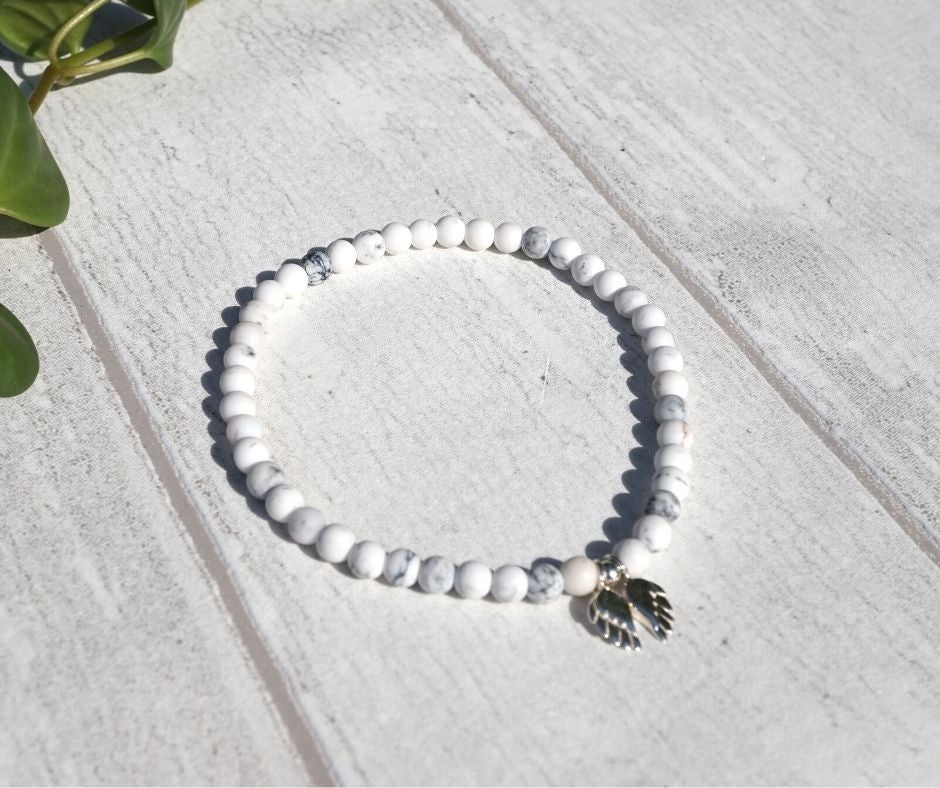 Image of Marble Agate 4mm Beaded Bracelet with Sterling Silver Angel Wings