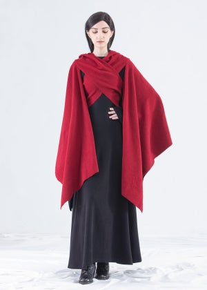 Image of   SAMPLE SALE - Shawl Hooded Wrap Cape in Ruby