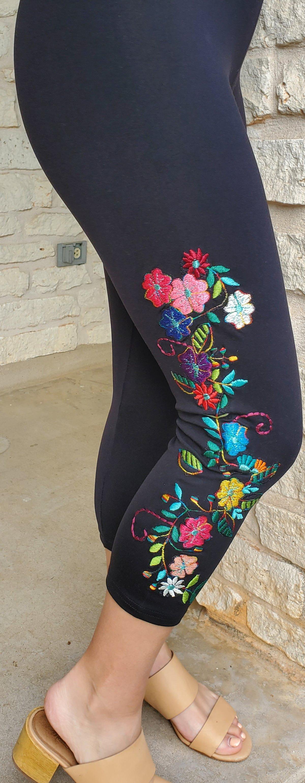 Black capris Jardim de Flores FW6122