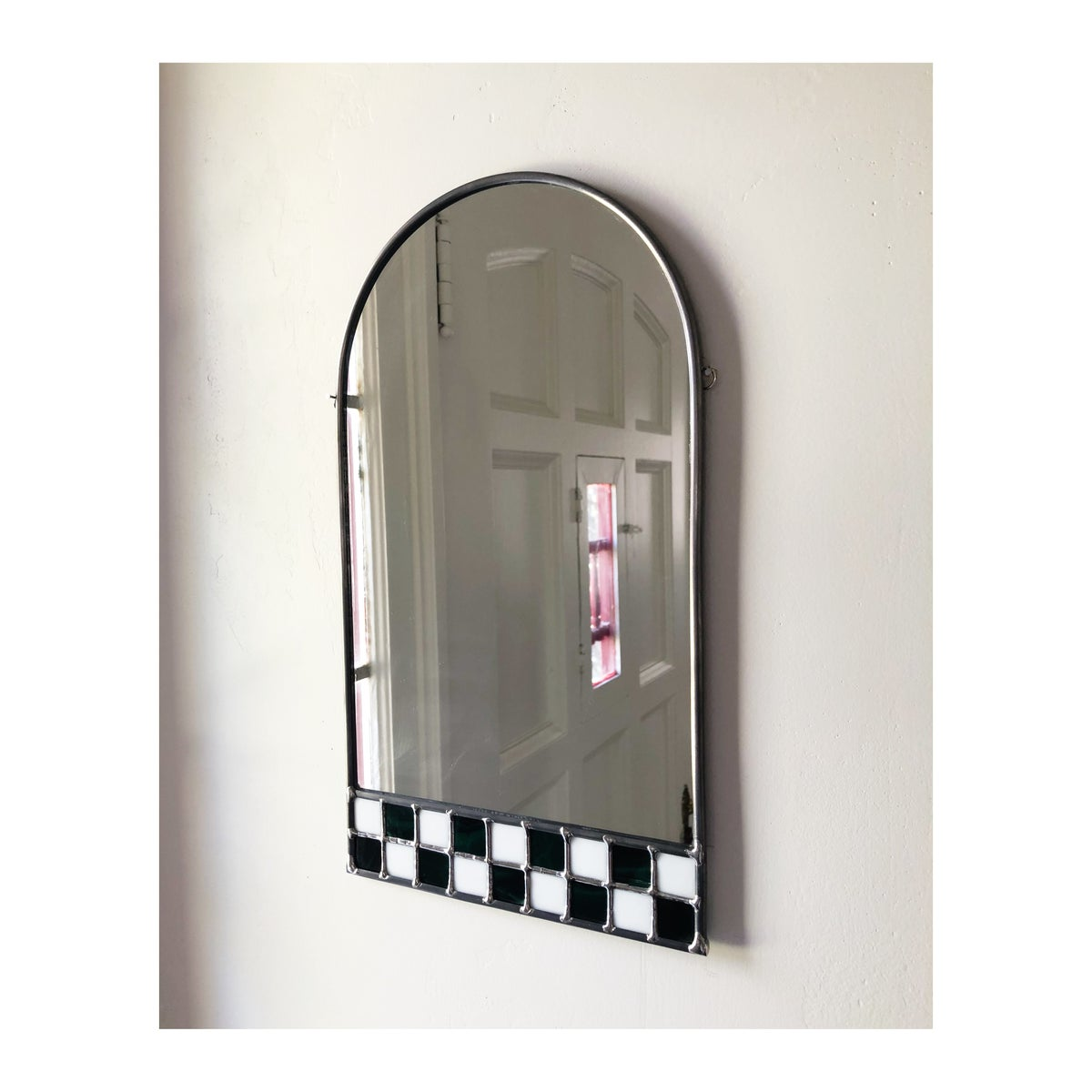 Image of Deep Green and White Checker Mirror