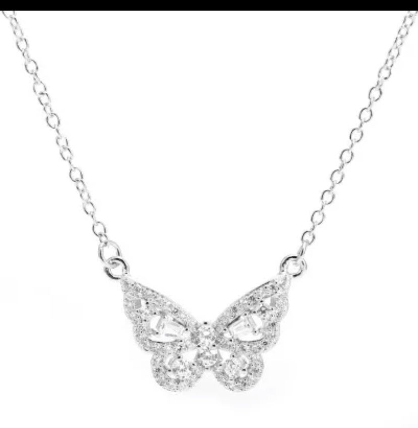Image of Butterfly pendant charm necklace