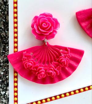 Image of Tokyo Rose Fan Earrings - Red