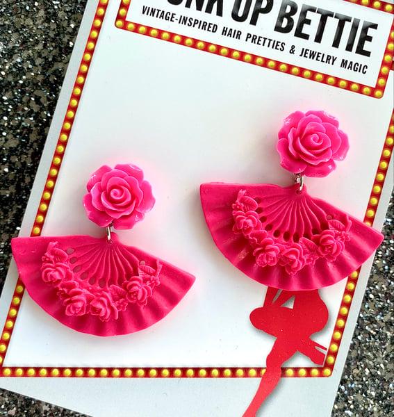 Image of Tokyo Rose Fan Earrings - Hot Pink