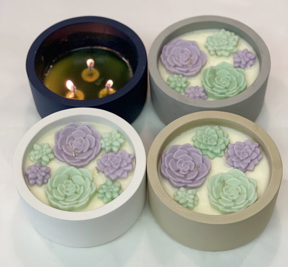 Image of Succulent Bliss Candle (14 ounce luxury candle) white