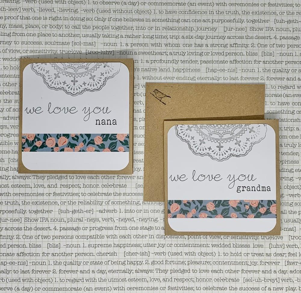 Image of nana & grandma gift cards w/ floral washi