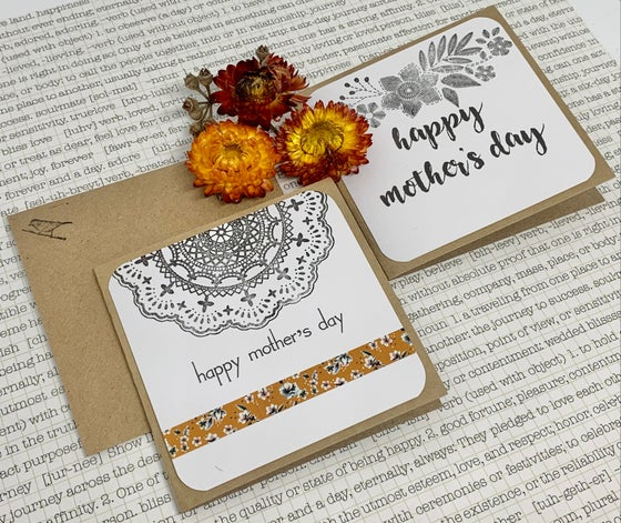 Image of mother's day gift cards - orange floral & butterfly washi