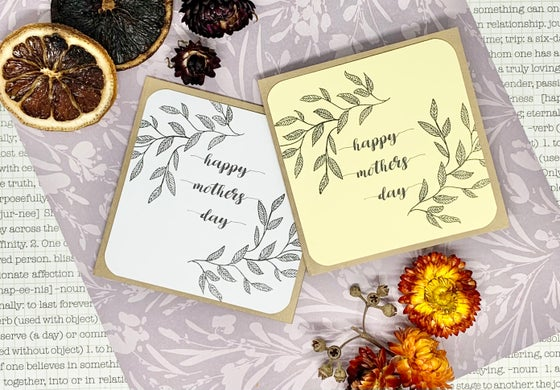 Image of mother's day gift cards w/ leaf stamp