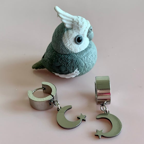 Image of Silver Moon and Star Huggie Hoops