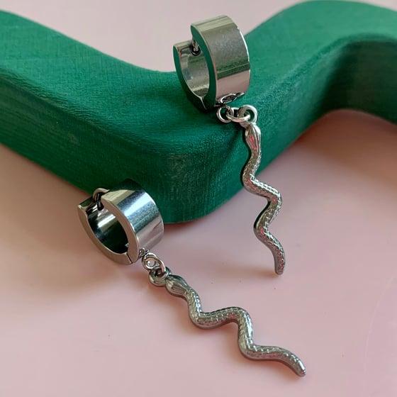 Image of Silver Snake Huggie Hoops