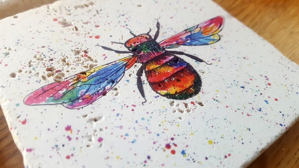 Image of Rainbow Bee Stone Coaster